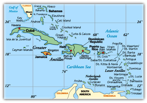 Captivating Map Of Caribbean